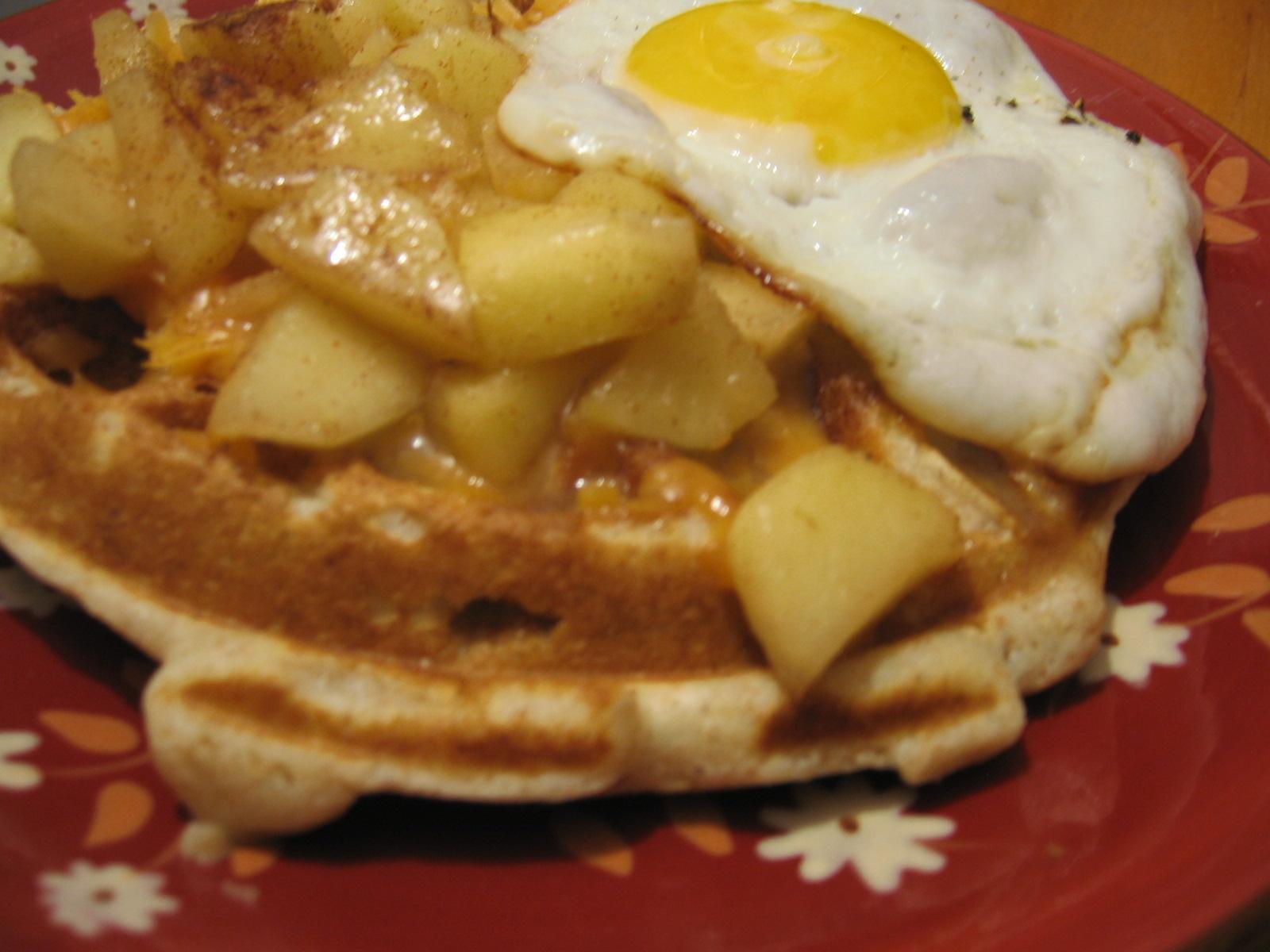apple cheddar waffles