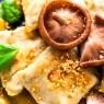 German Ravioli with Shiitake and Coconut Peanut Sauce