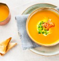 Pumpkin Coconut Soup with caramelized Prosciutto