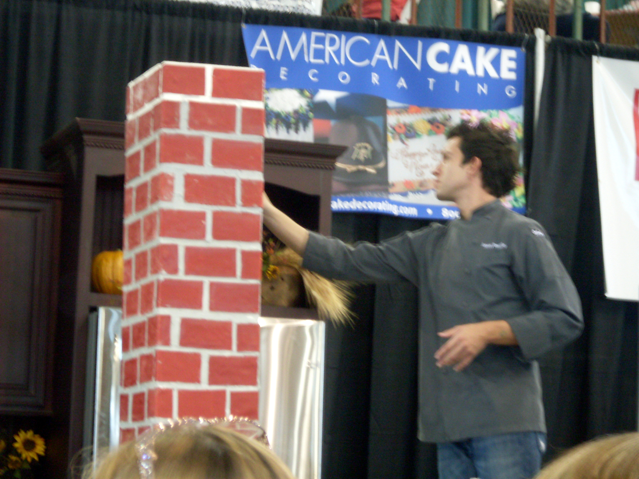 This is James, grouting the chimney. The bricks are fondant.