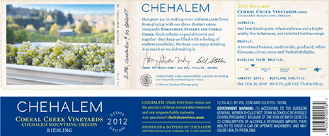 Label of Chehalem Corral Creek Vineyards Riesling 2012 from Oregon