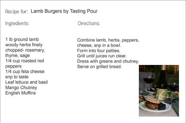 Recipe for Lamb Burgers paired with 2012 Willamette Valley Pinot Noir