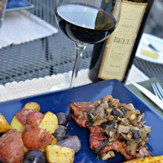 Steak with Mushroom Cognac Sauce, Patriotic Potatoes and Bell Wine Cellars Cab Sauv #winepw