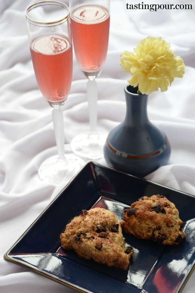 Cherry Hazelnut Scones and Marionberry Sparkling Cocktails