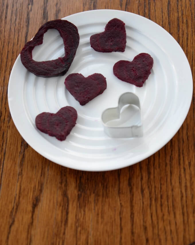 Beets cut to look like hearts