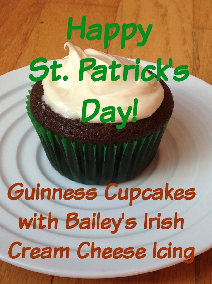 Guinness Cupcakes with Bailey's Irish Cream Cheese Icing