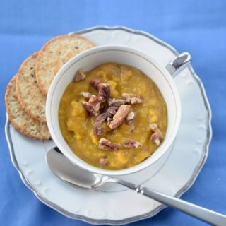 Carrot Soup with Buttered Pecans #soupswappers