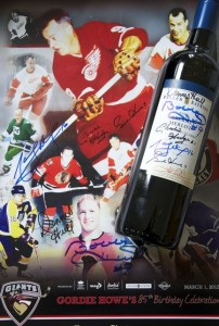 hockey poster and signed bottle, tastingroomconfidential.com/hockey-meets-wine-in-vancouver/ ‎