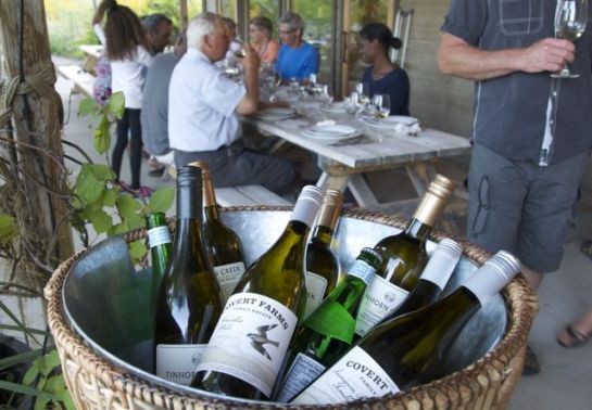 white wine bucket, http://tastingroomconfidential.com/covert-farms-serves-roasted-lamb-california-memories/