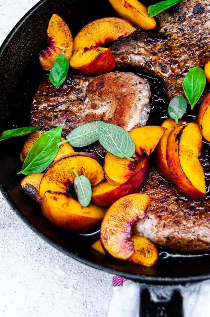 Pork, peaches, balsamic glaze with sage and basil