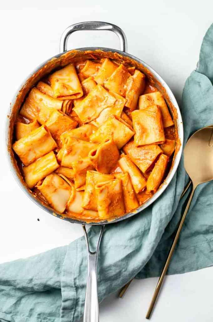 Pasta in large pan