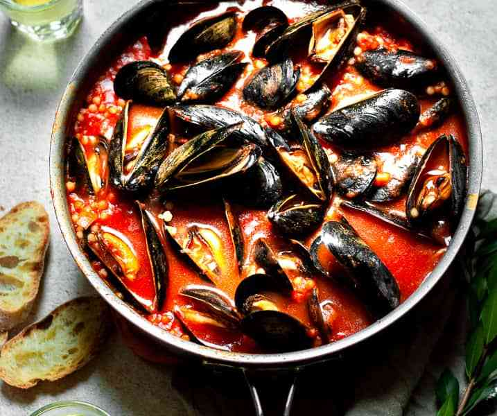 Easy Mussels with Israeli Couscous and Tomato Broth Recipe