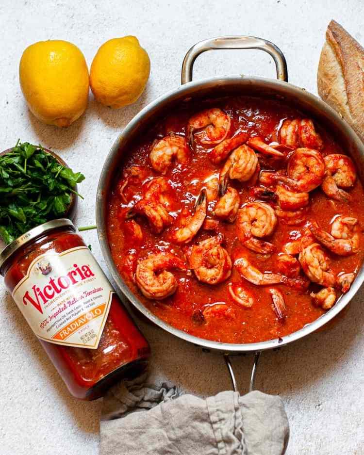 Shrimp in sauce in a pan