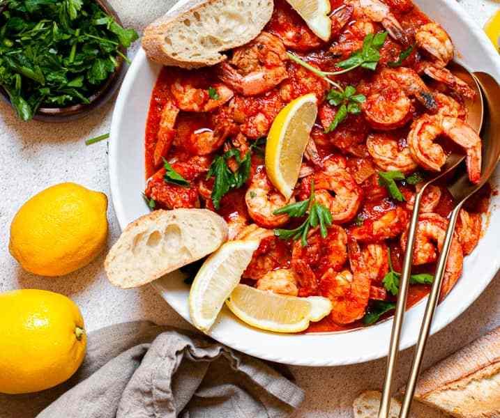 Easy Weeknight Spicy Shrimp Fra Diavolo with Bread Recipe