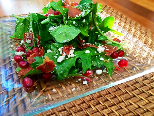 Winter Salad with Pomegranate, Blue Cheese and Prosciutto Crisps