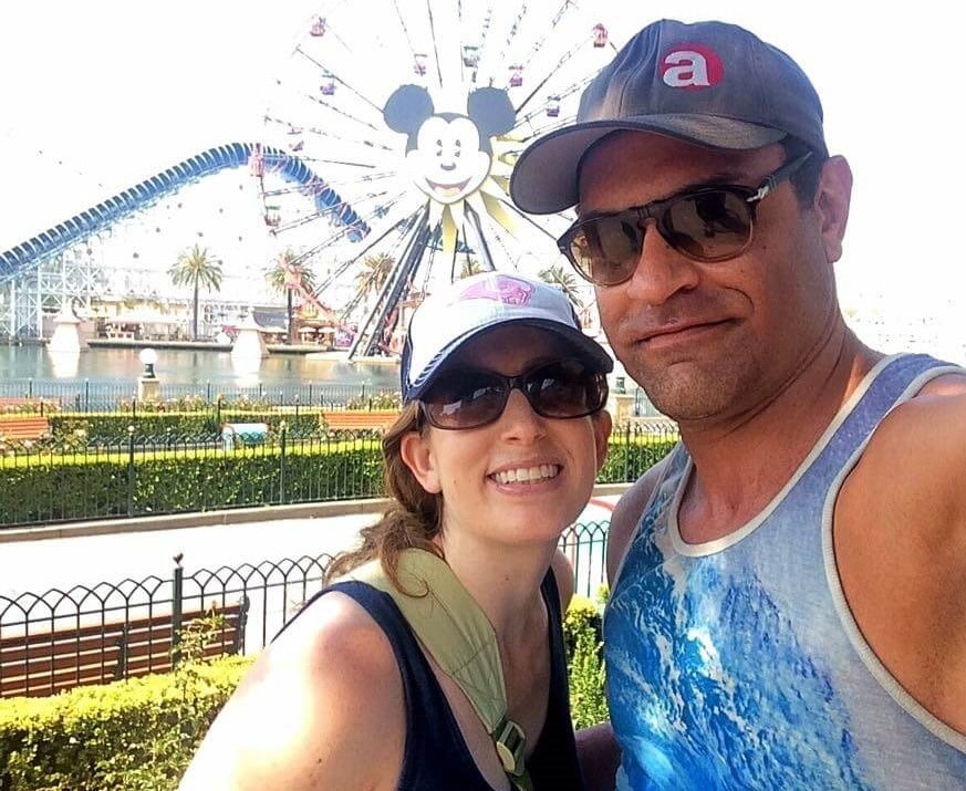 male and female at california adventure in front of mickey's fun wheel