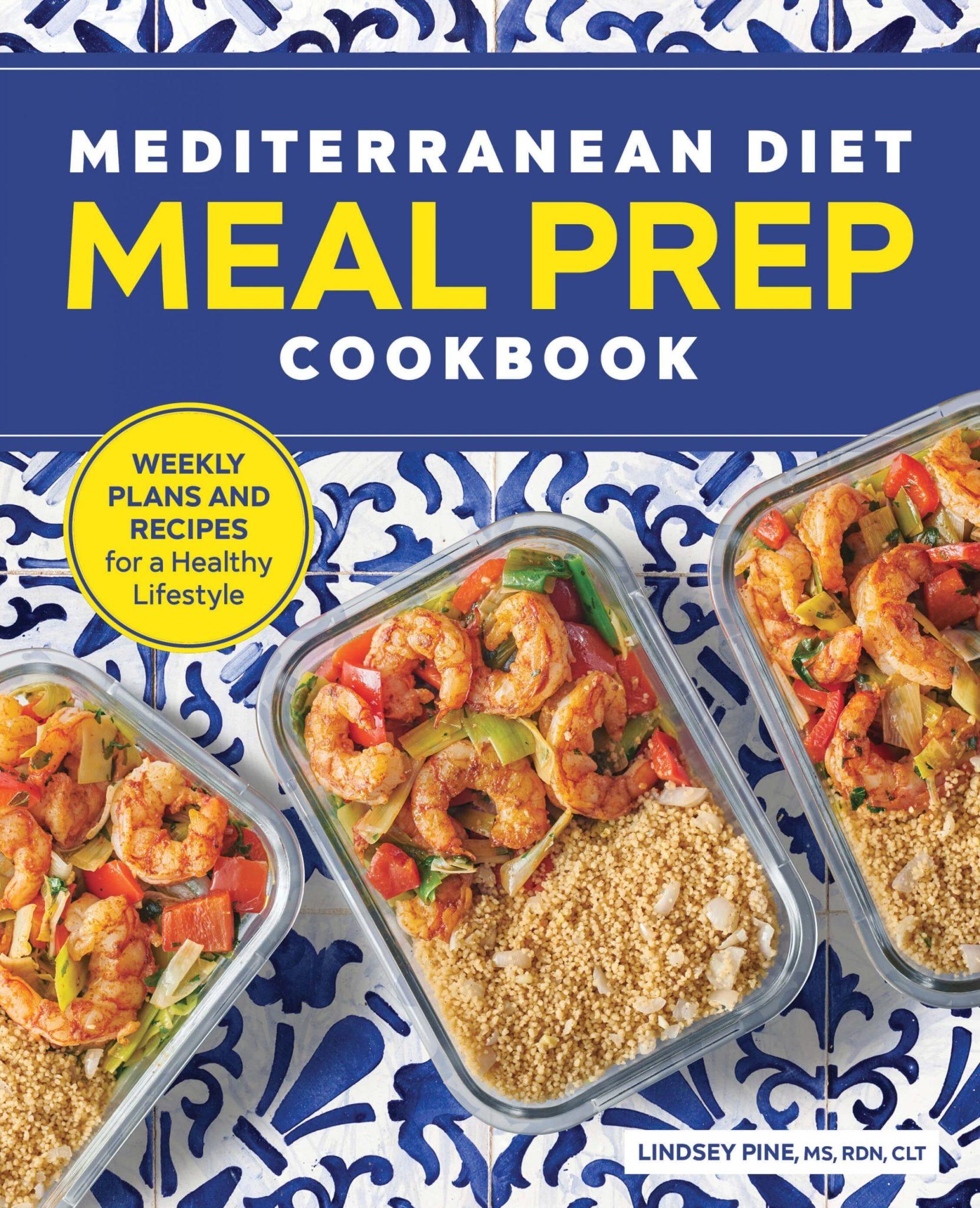 blue cover of mediterranean diet meal prep cookbook
