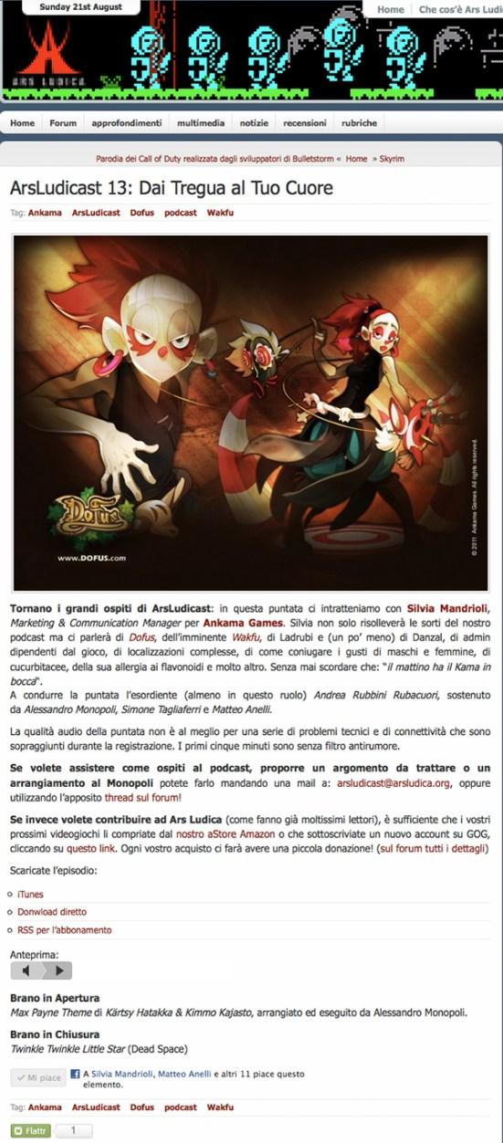 «Dai tregua al tuo cuore» (Ars Ludica press interview, Italian Marketing Coordinator, Ankama, 2011)