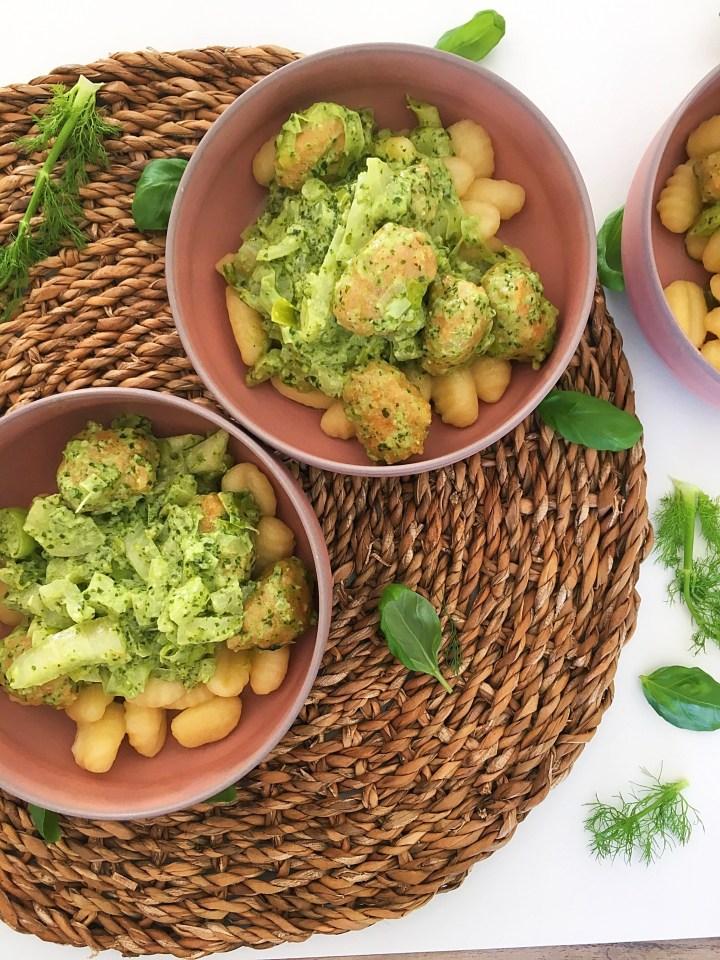 Gnocchi Pesto met Kip en Venkel