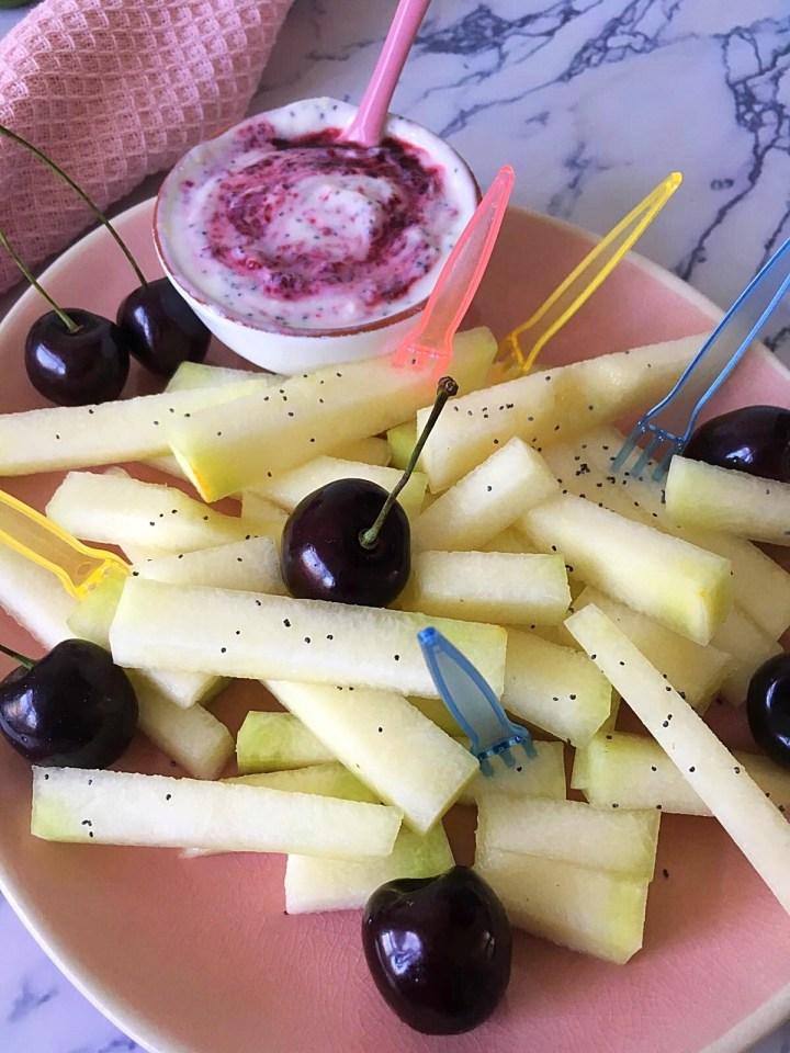 Meloenfrietjes met Kersendip
