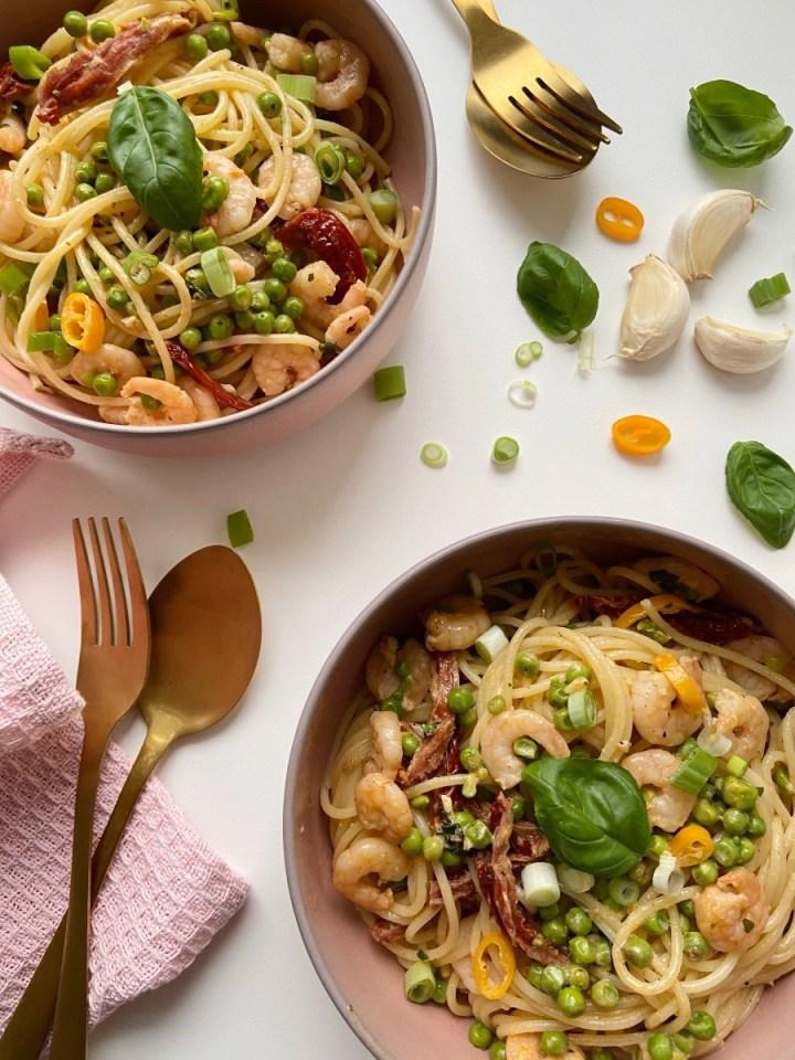 Spaghetti met garnalen roomsaus