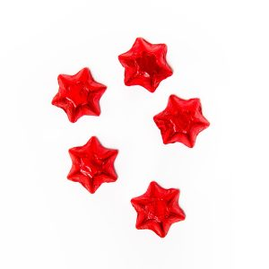 5 red foil wrapped milk chocolate stars.