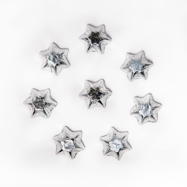 8 silver foil wrapped milk chocolate stars.