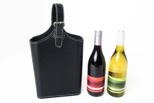 A 750ml Stony Peak Shiraz Cabernet and a 750ml Stony Peak Semillon Sauvignon Blanc presented in a black faux leather wine carrier.