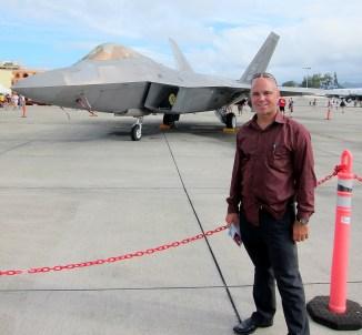 Pomai with an F-22 Raptor at Kaneohe Marine Corps Base Hawaii