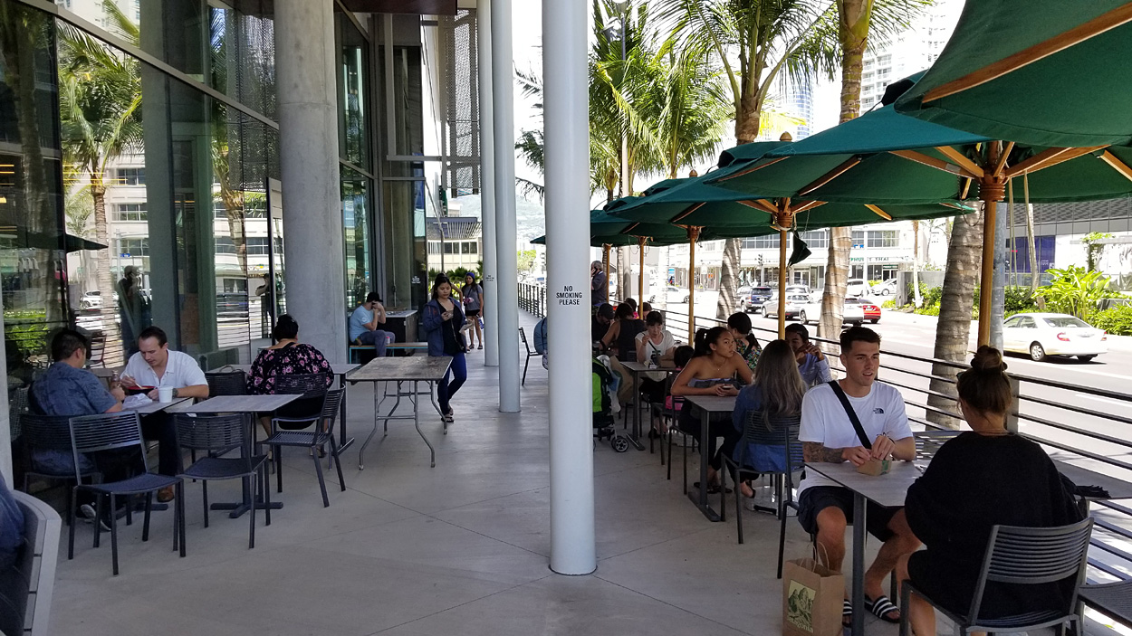 Outdoor seating near the entrance/exit on Kamake'e Street