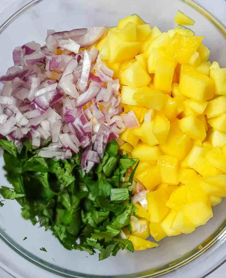 diced mango, diced red onion, and chopped cilantro in a clear bowl