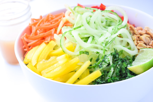 Spiralized Spring Roll Bowls - cucumber noodles, sweet Asian dressing, and all the flavors of Spring Rolls in a bowl. No rice paper rolling involved!   tastythin.com