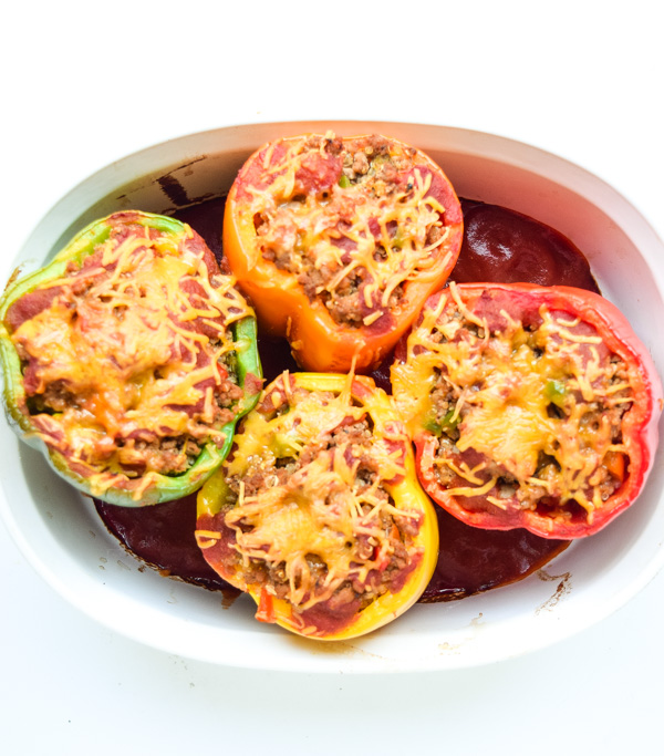 Taco Turkey Quinoa Stuffed Peppers - A healthy and delicious filling! This recipe makes 3 meals - 1 for tonight and 2 for the freezer! | tastythin.com
