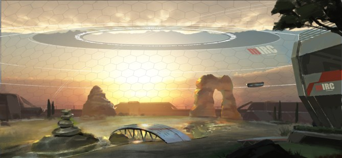 A soothing, futuristic atmosphere combining sci-fi and natural elements. Concept - Shu Yan.