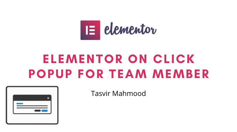 Elementor on click popup for team member in wordpress