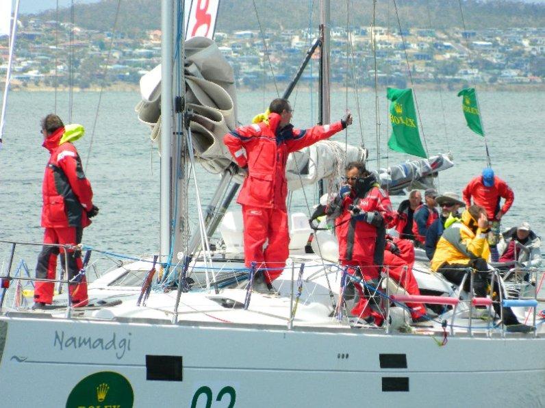 Happy crew arriving in Hobart