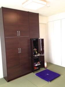仏壇と畳 新築マンションのフローリングのスペースに
