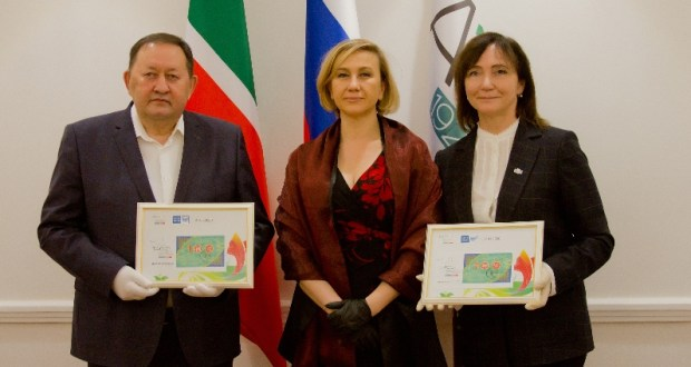 Stamp cancelling ceremony  takes place   at the Ministry of Culture of the Republic of Tatarstan to transfer memorable copies of stamps issued for the 100th anniversary of the TASSR
