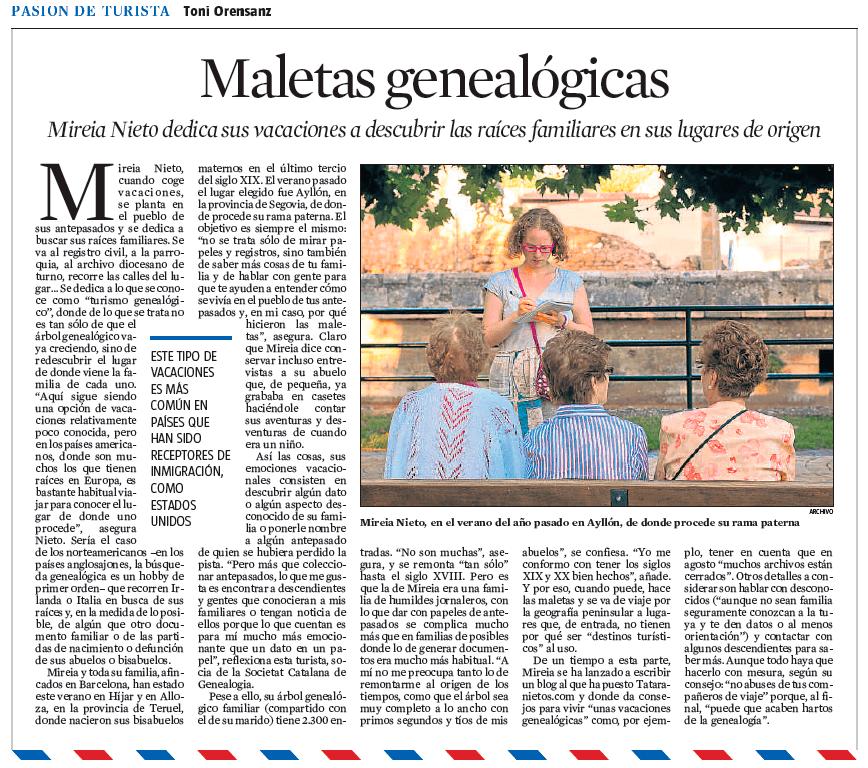 Maletas genealógicas La Vanguardia Mireia Nieto