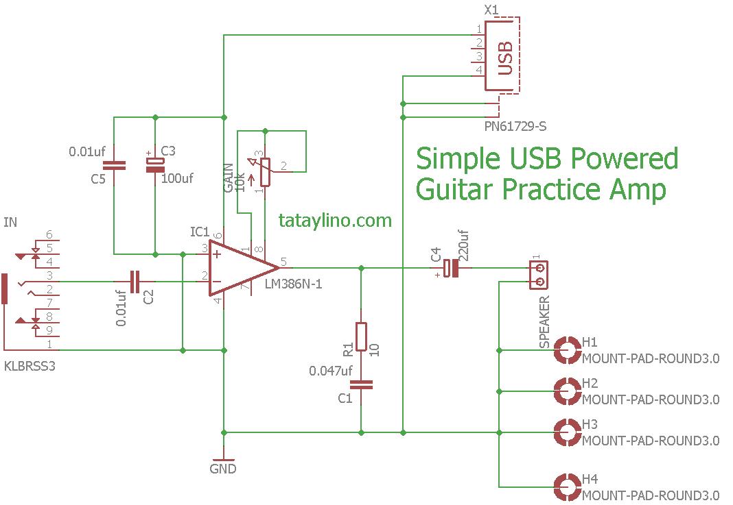 Simple USB powered Guitar Amp