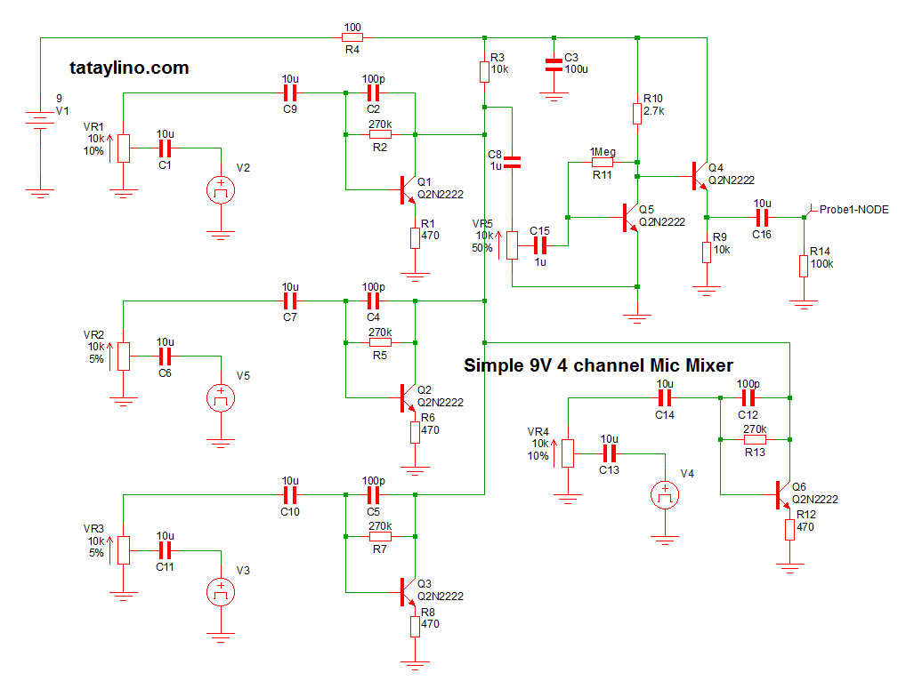 Simple 9V 4 channel Mic mixer