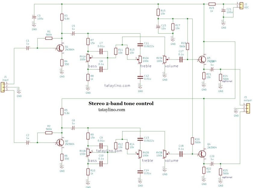 simpe 2 band tone control circuit