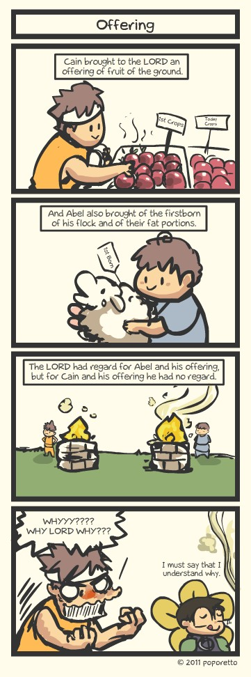 Genesis Bible Christian Comic Strip sacrifice by abel and cain