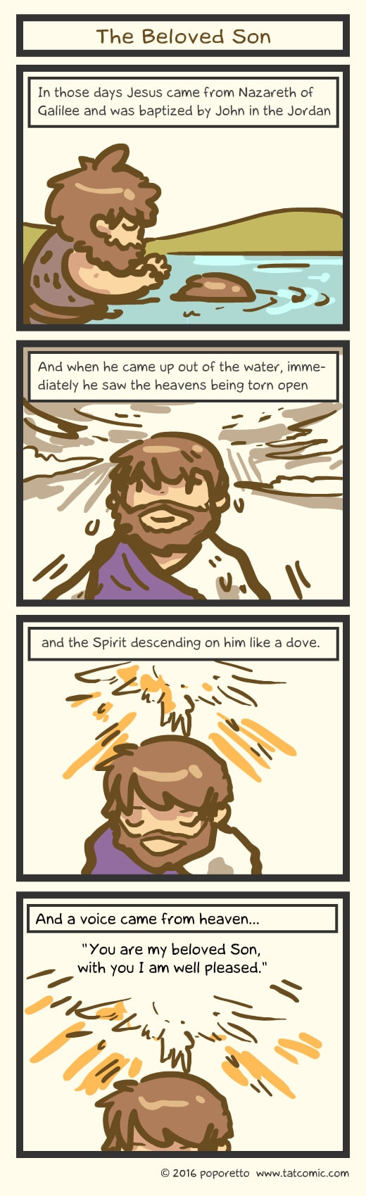 Christian Comic Strip the Gospel of Mark Book of Mark Jesus is the beloved son of God