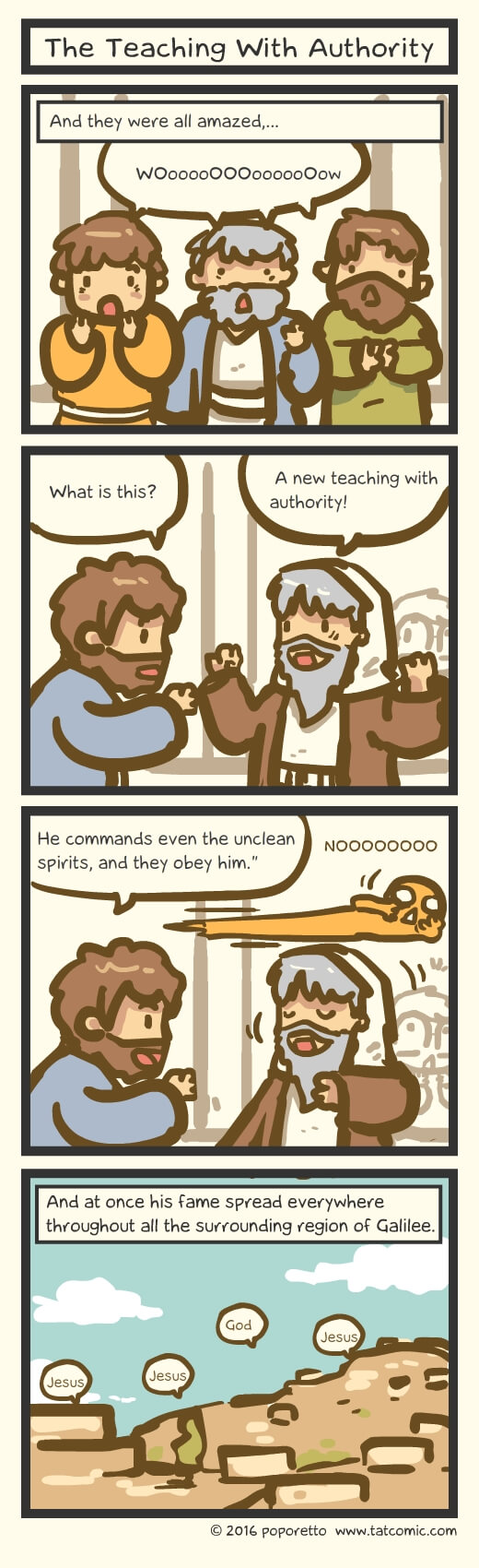 Christian Comic Strip the Gospel of Mark Book of Mark jesus teaching with authority