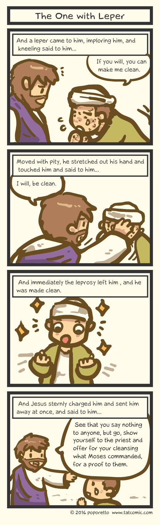 Book of mark comic gospel about how jesus healed the leper
