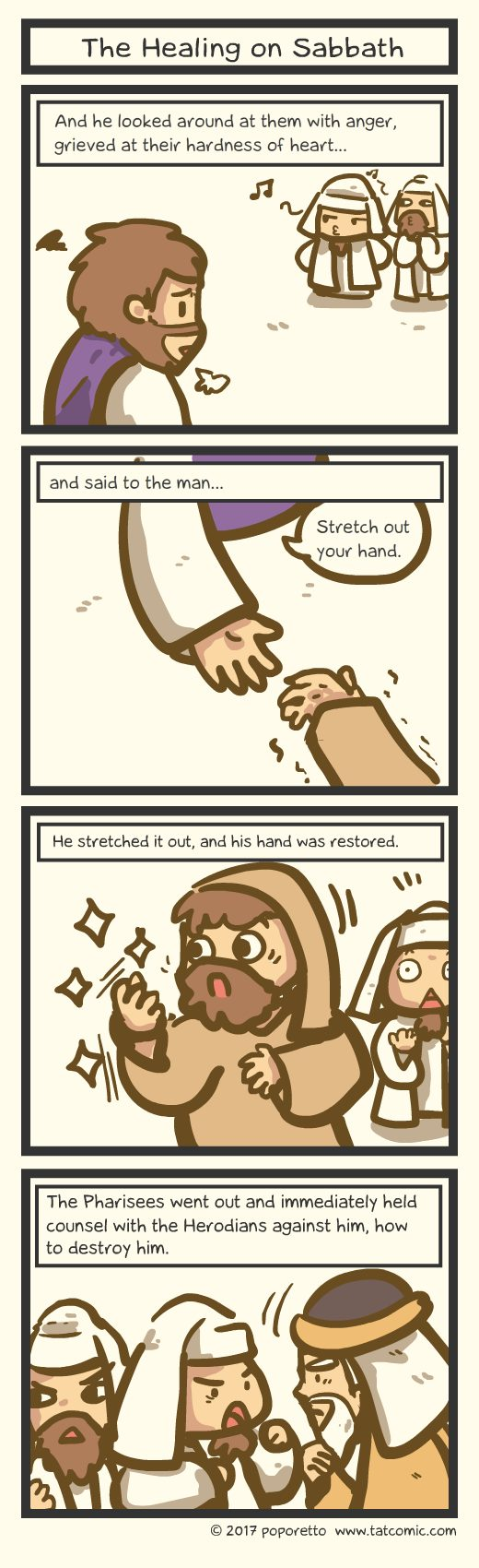 Gospel Christian comic strip the law of sabbath Jesus healing the withered hand even when it's sabbath day jesus still heals him