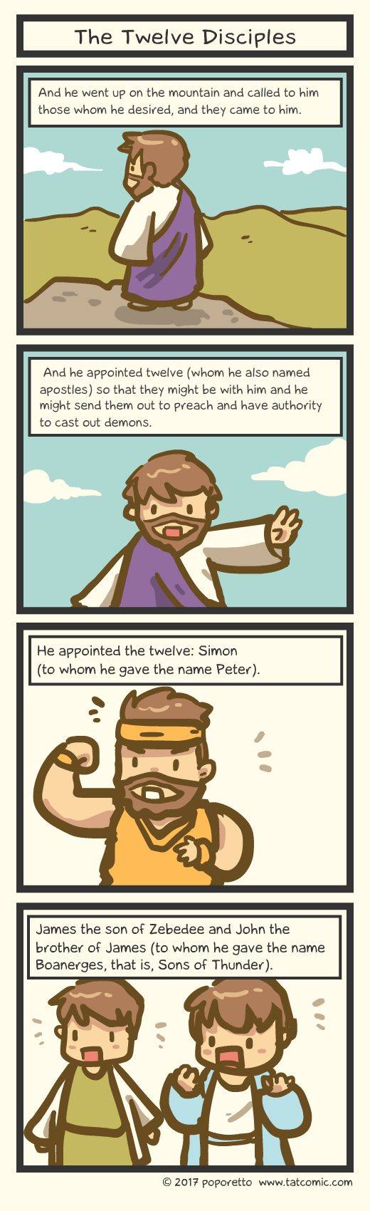 Gospel Christian comic strip jesus called the twelve disciples simon peter, andrew, philip, nathanael, bartholomew, judas iscariot, simon peter, 12 disciples gospel comic