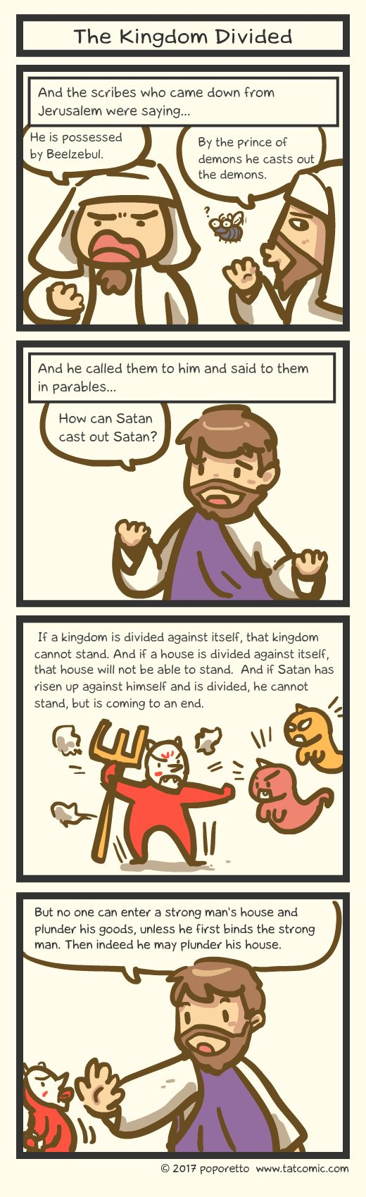 Gospel Christian comic strip jesus accused of casting out demon with beelzebub power but jesus said that kingdom divided won't stand