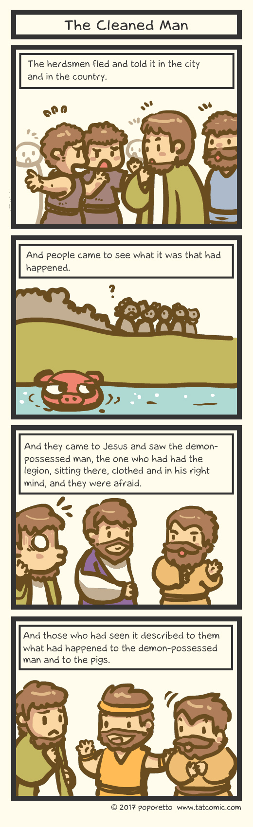 Gospel Christian comic strip jesus and his disciples went out to the sea and the storm caught up to them, jesus and the man who has been cleansed from the demon legion
